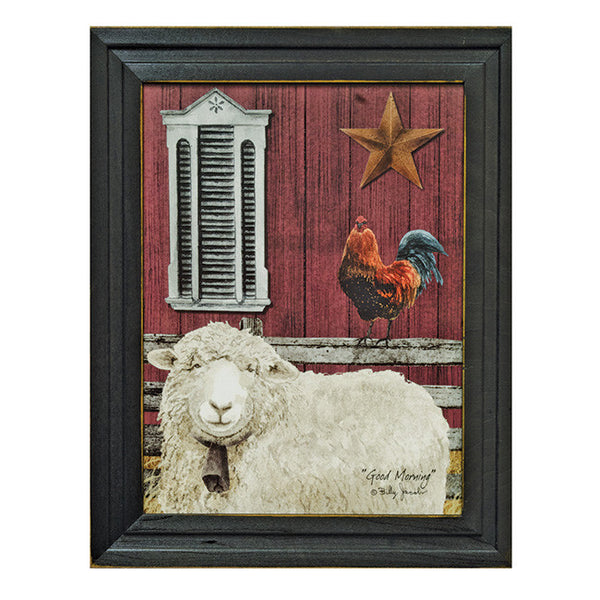 """Good Morning, Sheep Rooster"" Framed Country Farm Art Print"