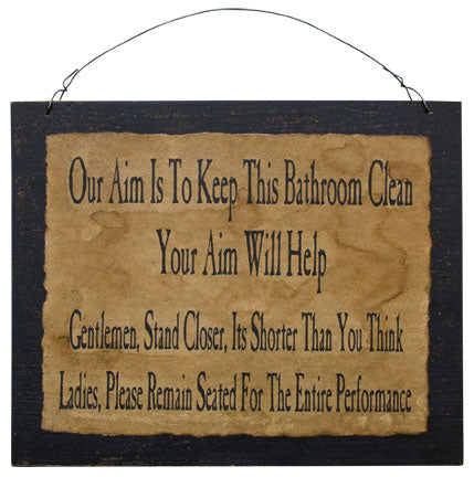 Olde Parchment Distressed Funny Clean Bathroom Wood Board Sign