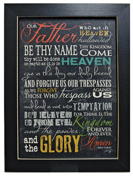 The Lord's Prayer Colorful Framed Sign