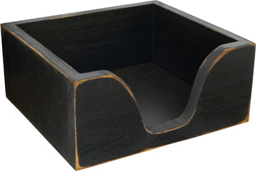 Distressed Black Primitive Napkin Holder