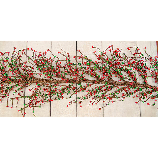 4 ft Red & Green Pip Berry Garland