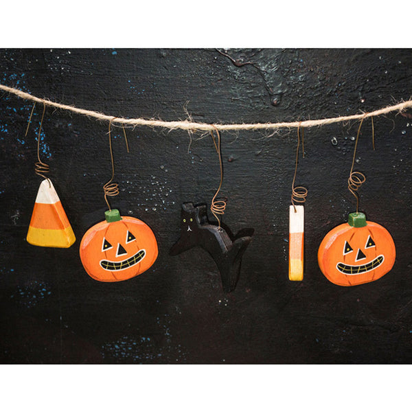 Halloween Ornament Set: Pumpkin, Cat, Candy Corn