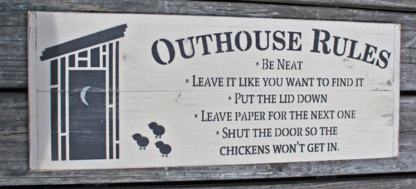 Outhouse Rules Country Rustic Distressed Sign