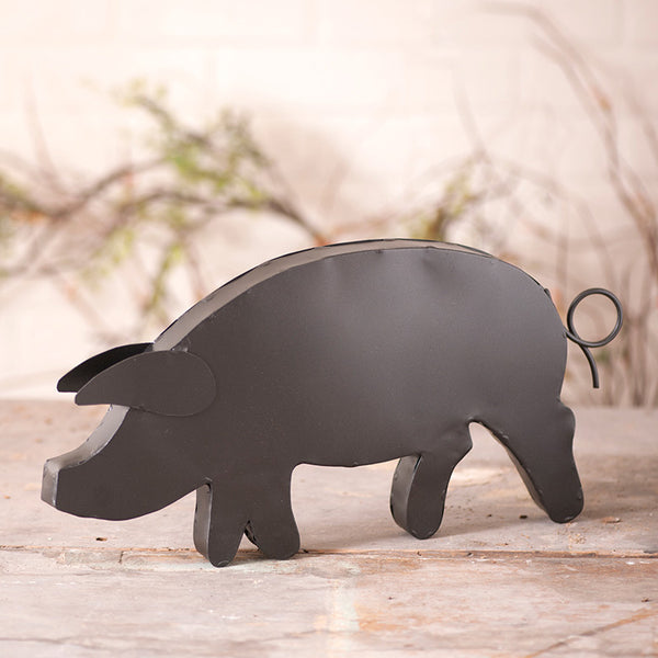 Smokey Black Metal Pig Wall Sculpture