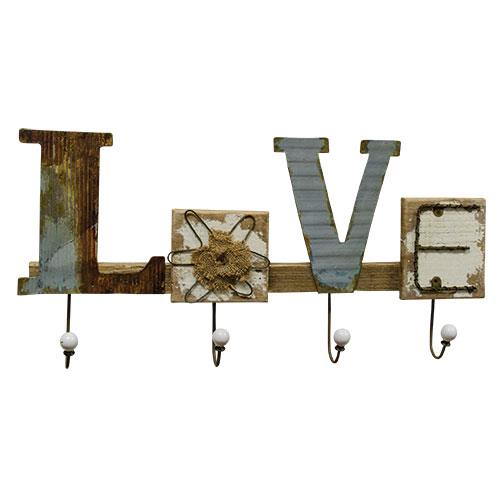 "Distressed ""LOVE"" Wood & Metal Country Rustic Hanger Sign"