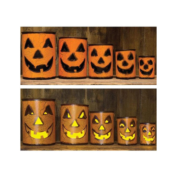 Jack O' Lantern Metal Luminary Set With Handles, Fall Pumpkin Decor