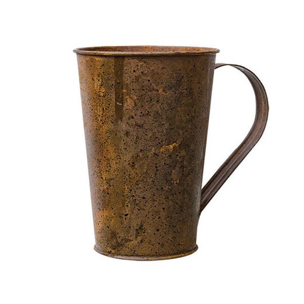 "Rusty Black Decorative 4.5"" Metal Mug"