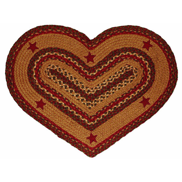 "Braided Jute Heart Rug 20"" x 30"" Cinnamon & Applique Stars"