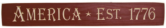 Engraved America Est. 1776 Barn Red Sign