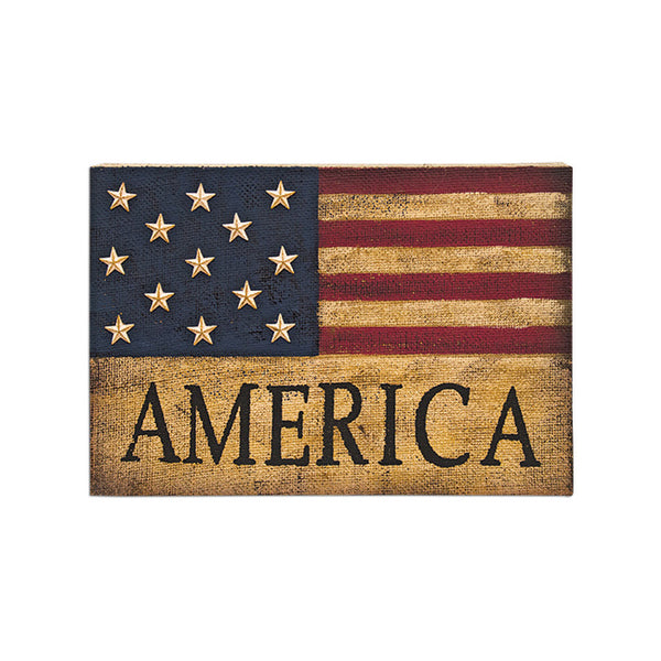 Burlap & Stars America Flag Sign