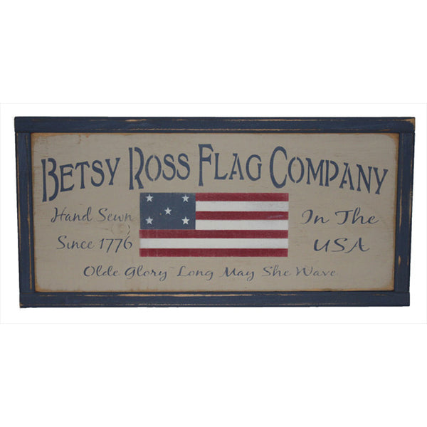 PS Betsy Ross Flag Co Framed Wood Plank Sign