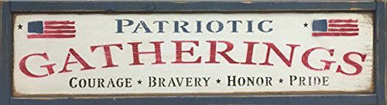 Patriotic Gatherings Framed Wood Plank Sign
