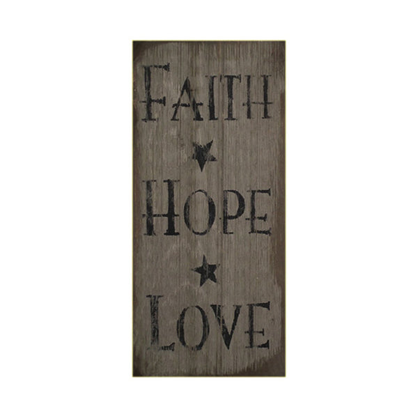 Primitive Faith Hope Love Star Gray Sign