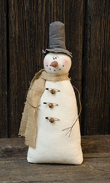 Vintage Stuffed Snowman Rusty Safety Pins & Bells
