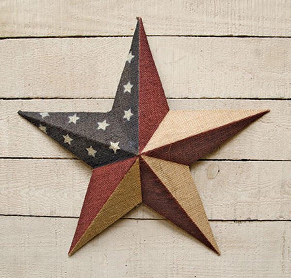 "18"" Burlap Metal Americana Flag Barn Star"