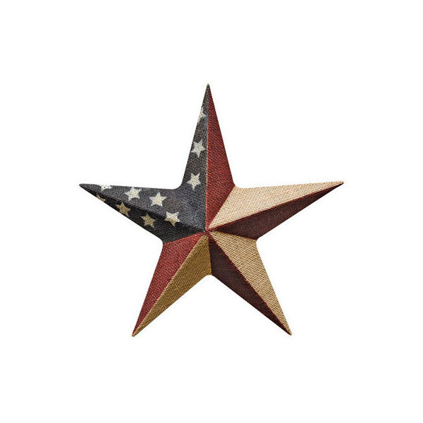 "12"" Burlap Metal USA Flag Barn Star"