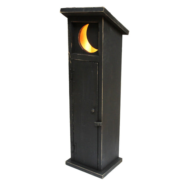 NEW! Rustic Outhouse Moon Night Light & Toilet Paper Storage Tower