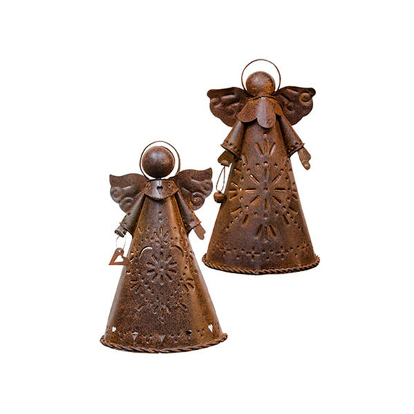 Rusty Angel Candle Holder Set - Punched Metal Design
