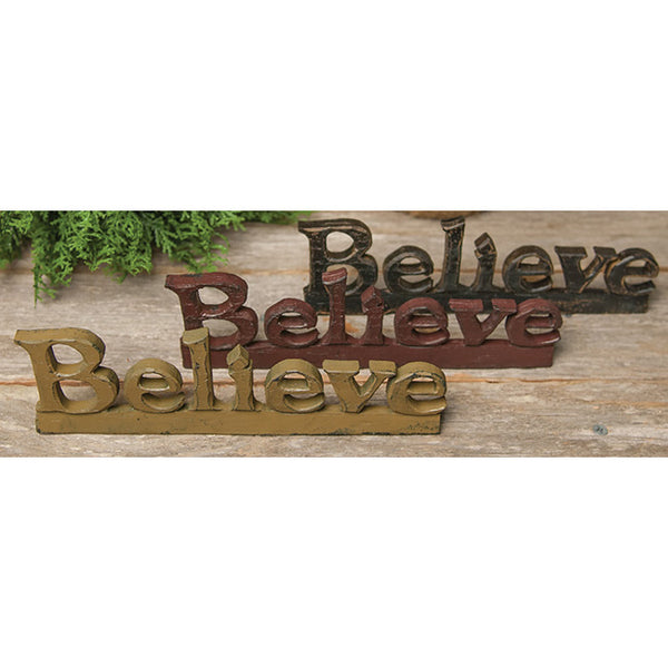 Believe Wood-Carved Appearance Resin Letter Sign Shelf Sitter