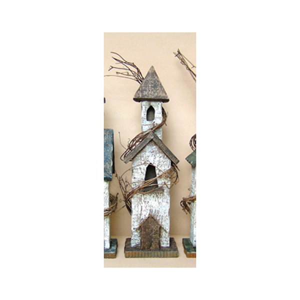 Weathered Wooden Bird House with Grapevine & Tin Accent 2