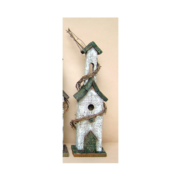Weathered Wooden Bird House with Grapevine & Tin Accent 3