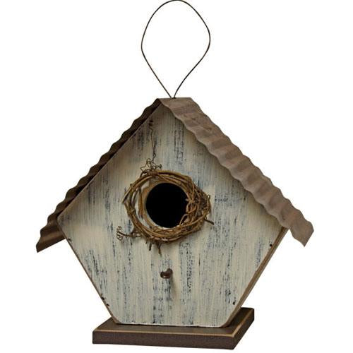 Ivory Bird House with Twine and Metal Roof