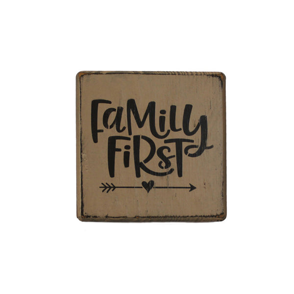 Rustic Family First Mini Wood Block Shelf Sitter