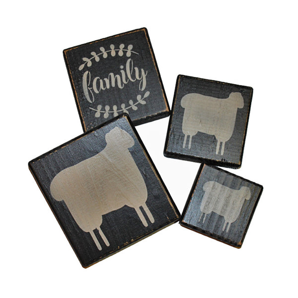 Family Sheep Wood Block Sign Shelf Sitter Set