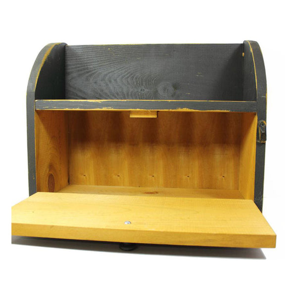 Distressed Black Bread Box with Book Shelf