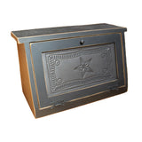 Border & Star Punched Tin Panel Wood Bread Box