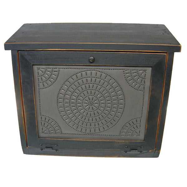 Chisel Design Punched Tin Panel Wood Bread Box