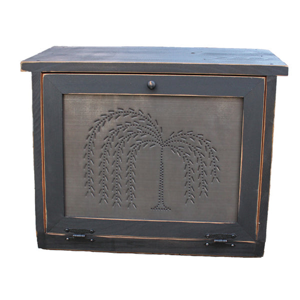 Country Rustic Willow Tree Punched Tin Panel Bread Box