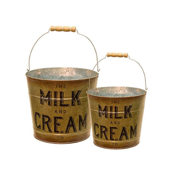 Galvanized Metal Milk & Cream Bucket Set