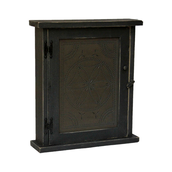 Hex Flower Punched Tin Spice or Medicine Cabinet with Distressed Black Finish