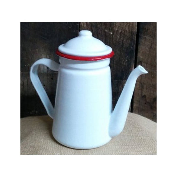 Country Metal Enamelware Coffee Pot with Lid