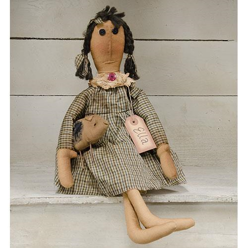 Primitive Ella Doll with Stuffed Pig