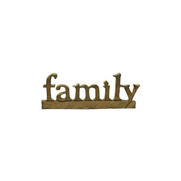 family (lowercase) Wood-Carved Appearance Resin Letter Sign Shelf Sitter