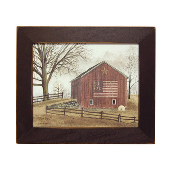 "Billy Jacobs ""Flag Barn"" Distressed Wood Framed Print"