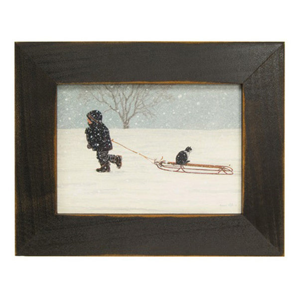"""All Aboard"" Child Pulling Sled with Cat Framed Print"
