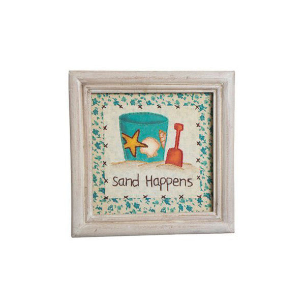 """Sand Happens"" Framed Whimsical Stitchery Nautical Beach Gift"