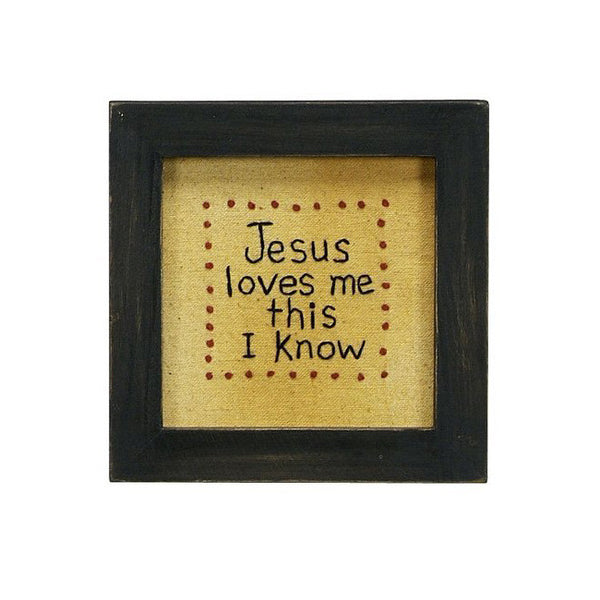 """Jesus Loves Me"" Framed Stitchery Embroidered Gift"