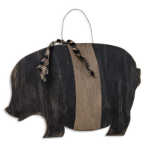 Distressed Black Wood Pig Hanging Plaque with Homespun Ribbon