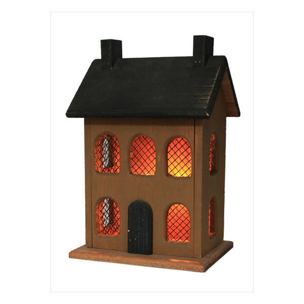 "13"" Lighted Saltbox Mustard House 2 Chimneys"