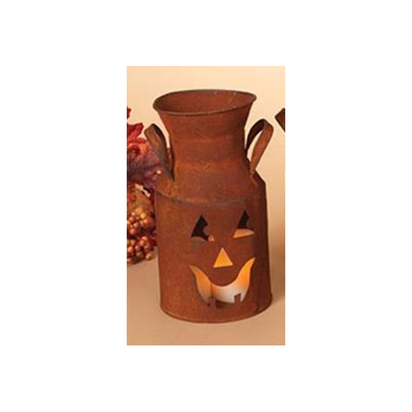 Rusty Metal Jack O' Lantern Milk Can Bucket