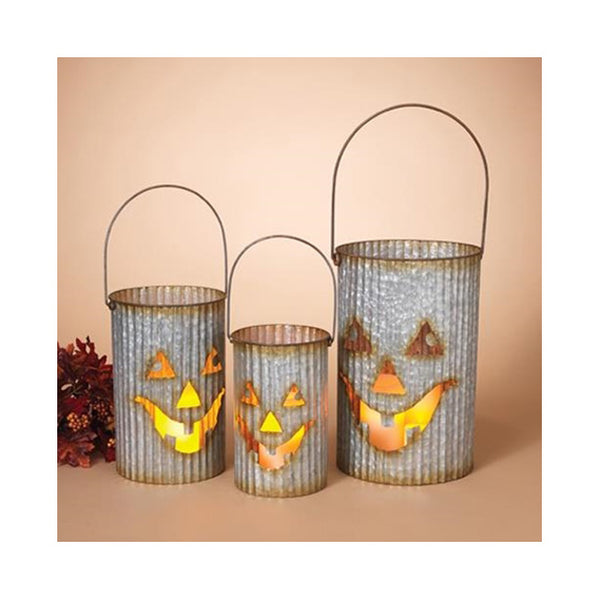 Galvanized Metal Jack O' Lantern Luminary Set With Handles