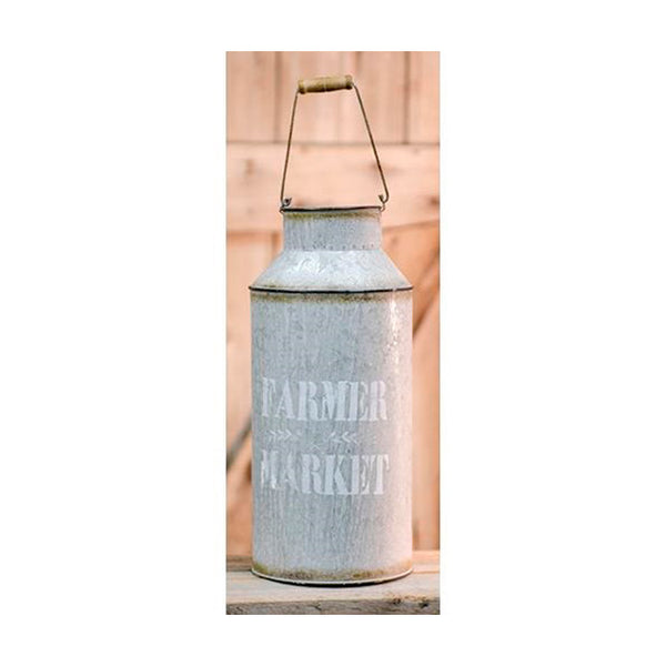 Rustic Farmers Market Iron Milk Jug Can with Handle
