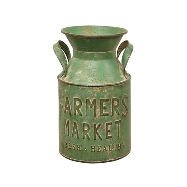 Rustic Farmers Market Metal Milk Jug Can with Handles