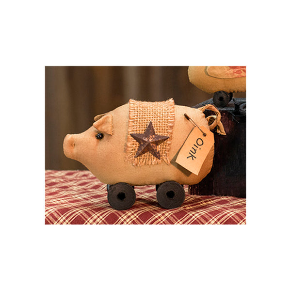 Primitive Stuffed Fabric Spool Pig with Rusty Star and Pin