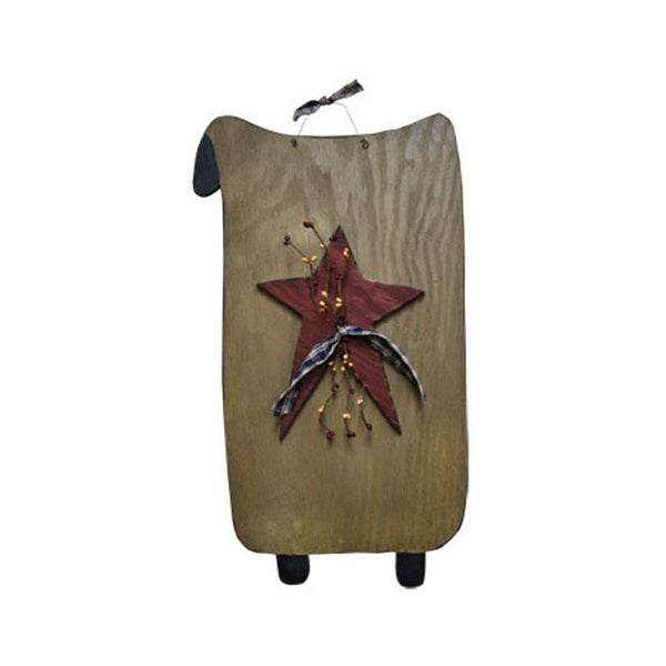 Sheep Star Berries Wood Plaque