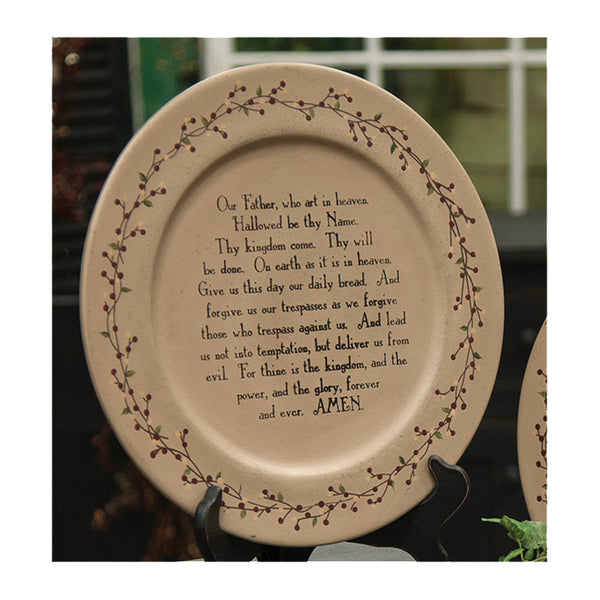"Lord's Prayer with Ivy Berry Border 13"" Decorative Wood Plate"